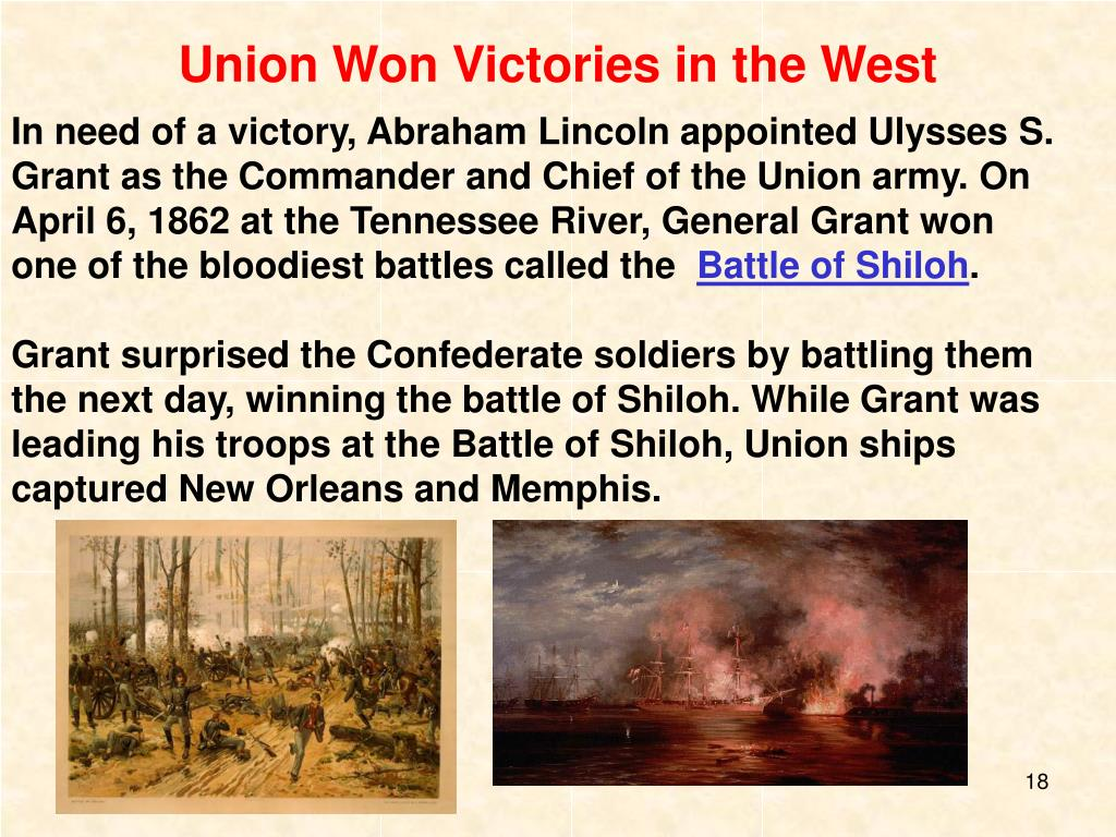 Union Won Victories in the West