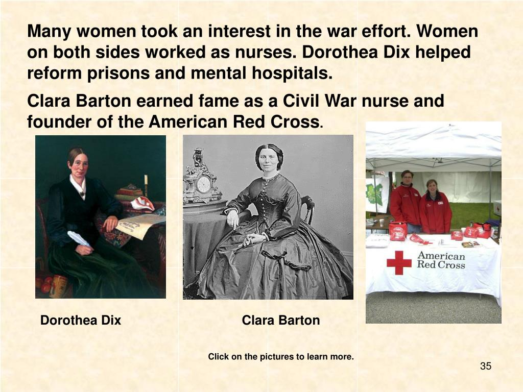 Many women took an interest in the war effort. Women on both sides worked as nurses. Dorothea Dix helped reform prisons and mental hospitals.