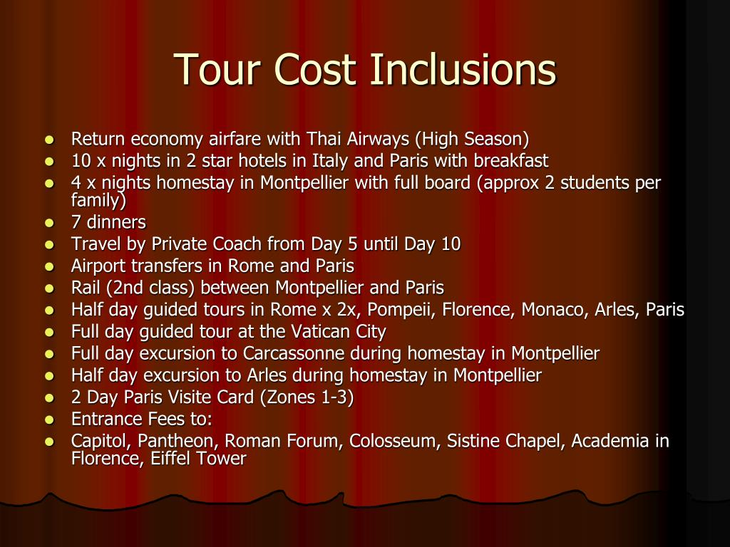 Tour Cost Inclusions
