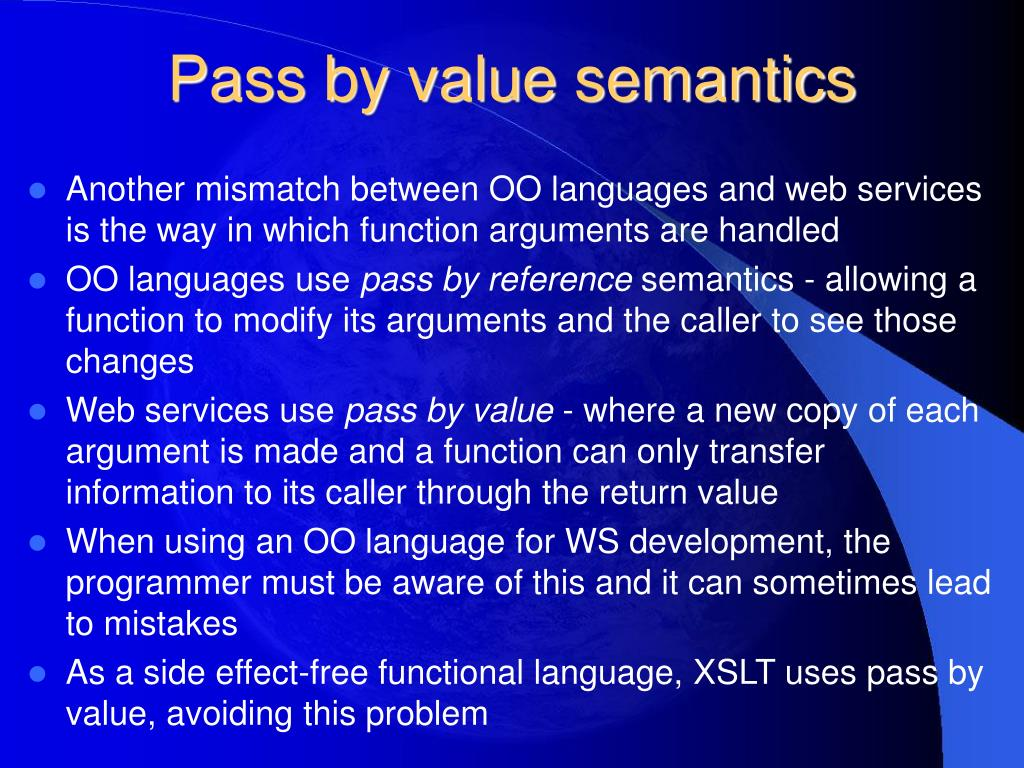 Pass by value semantics