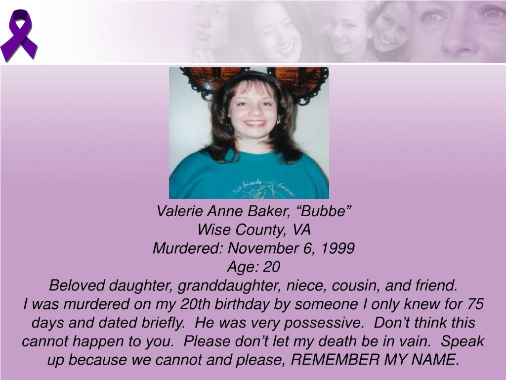 "Valerie Anne Baker, ""Bubbe"""