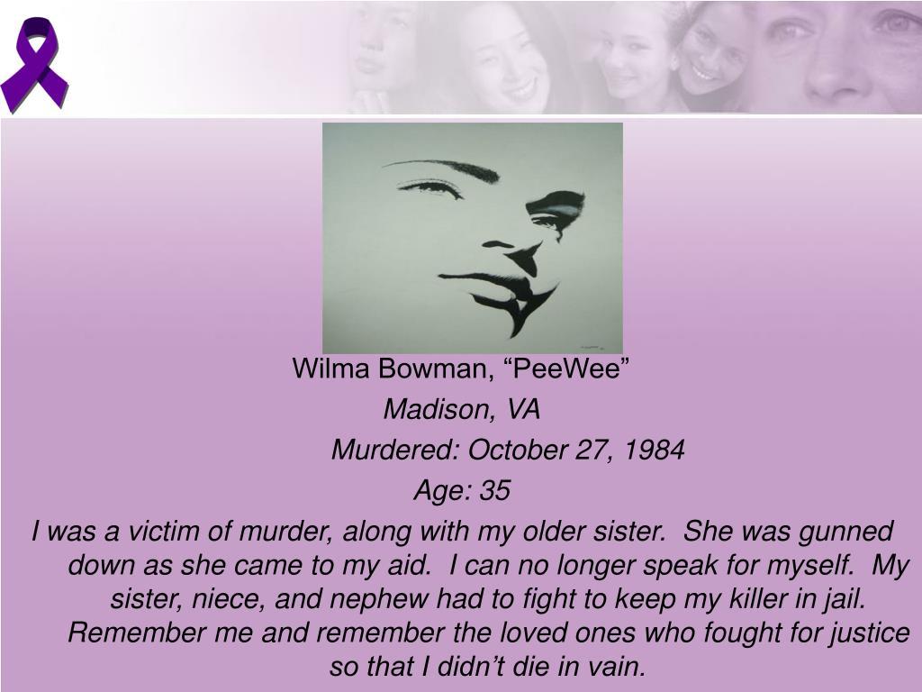 "Wilma Bowman, ""PeeWee"""