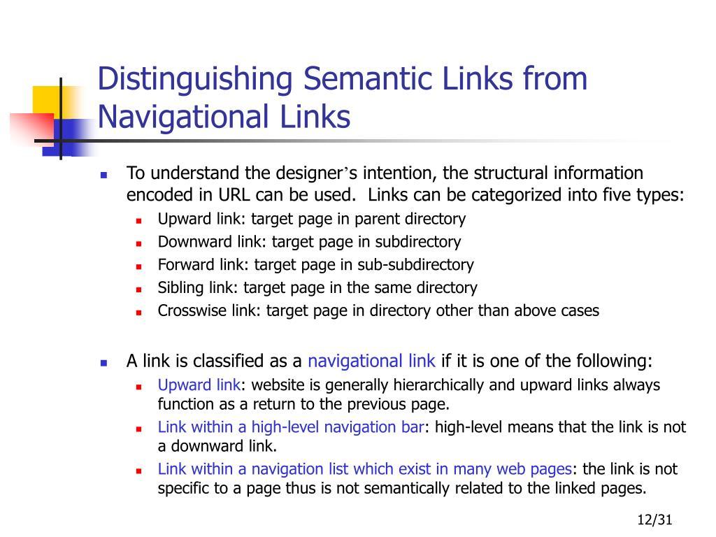 Distinguishing Semantic Links from Navigational Links