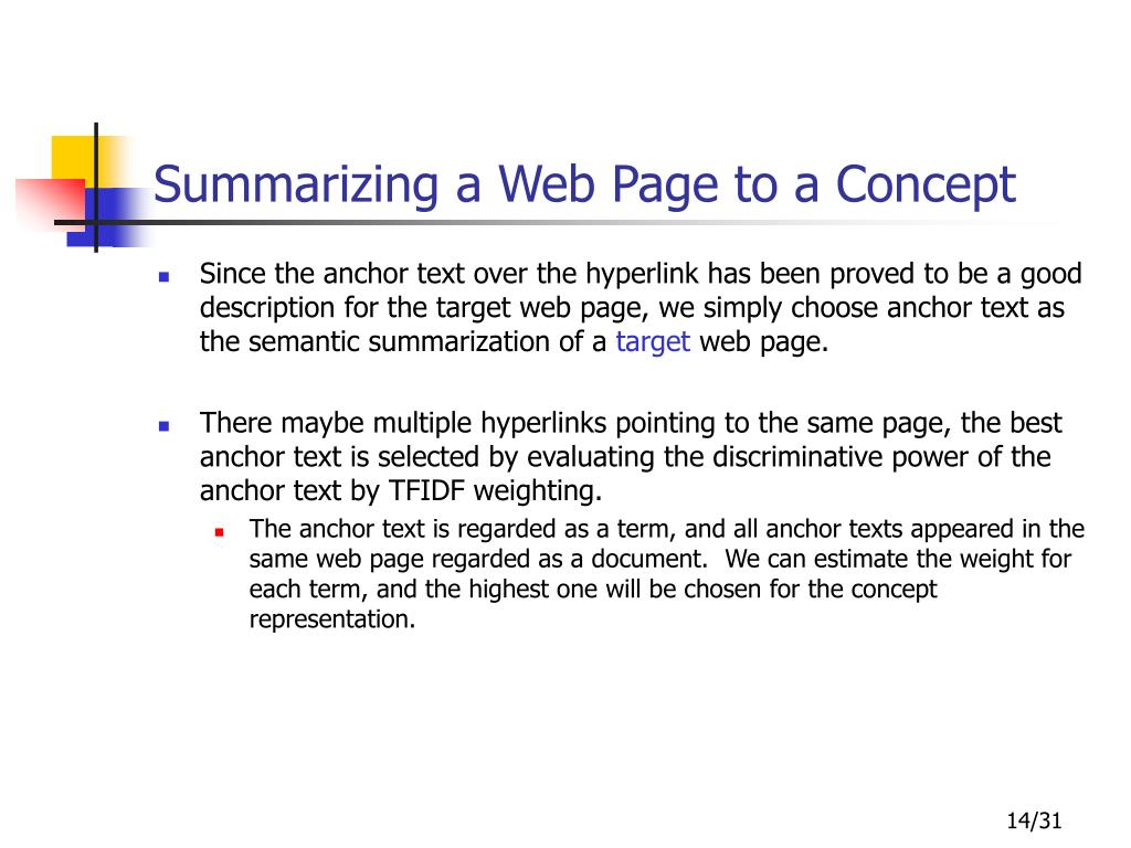 Summarizing a Web Page to a Concept