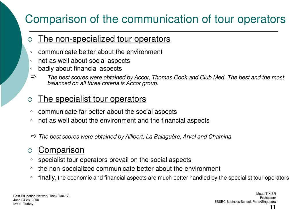 Comparison of the communication of tour operators