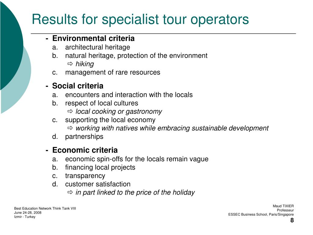 Results for specialist tour operators