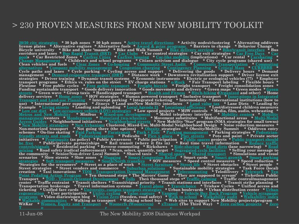 > 230 proven measures from New Mobility toolkit