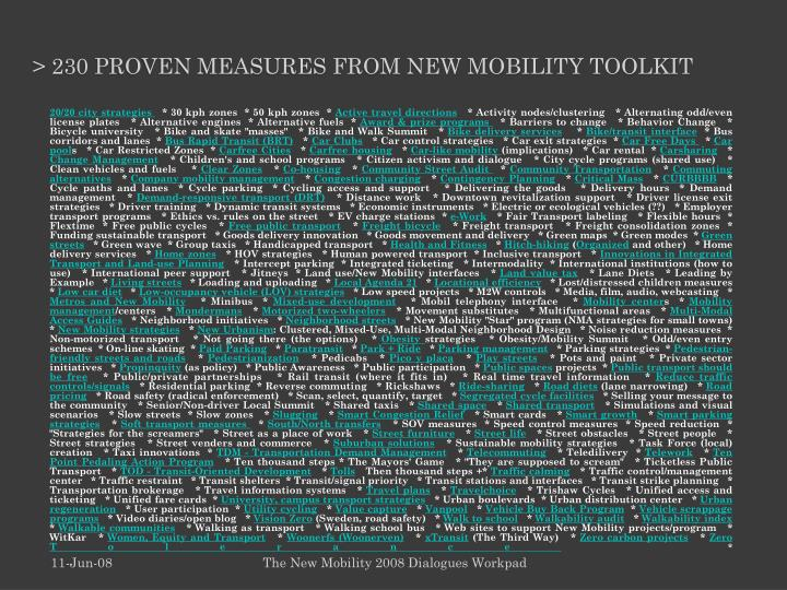 230 proven measures from new mobility toolkit
