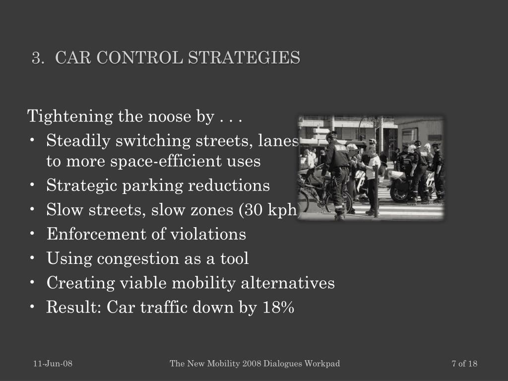 3.  Car Control strategies