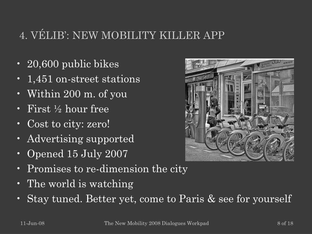 4. Vélib': New Mobility Killer App