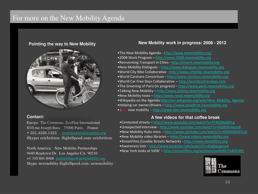 For more on the New Mobility Agenda