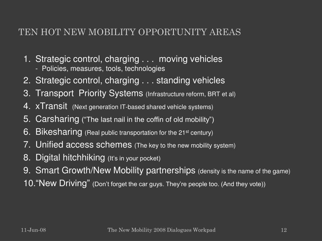 Ten hot New Mobility opportunity areas