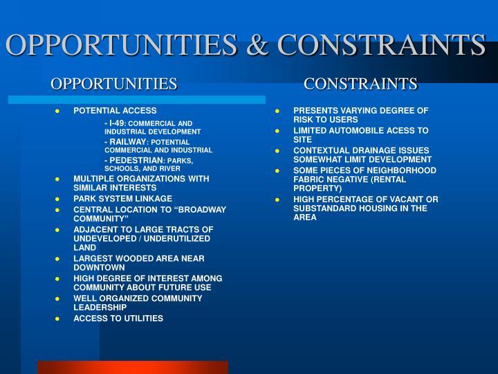 OPPORTUNITIES & CONSTRAINTS