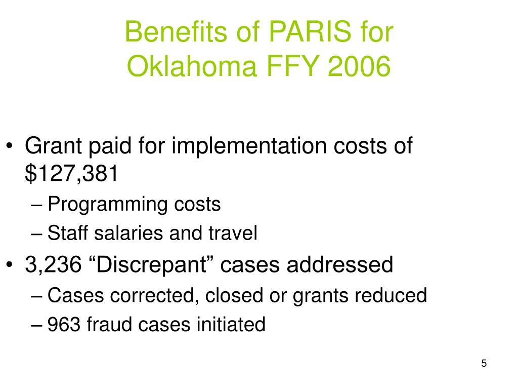 Benefits of PARIS for