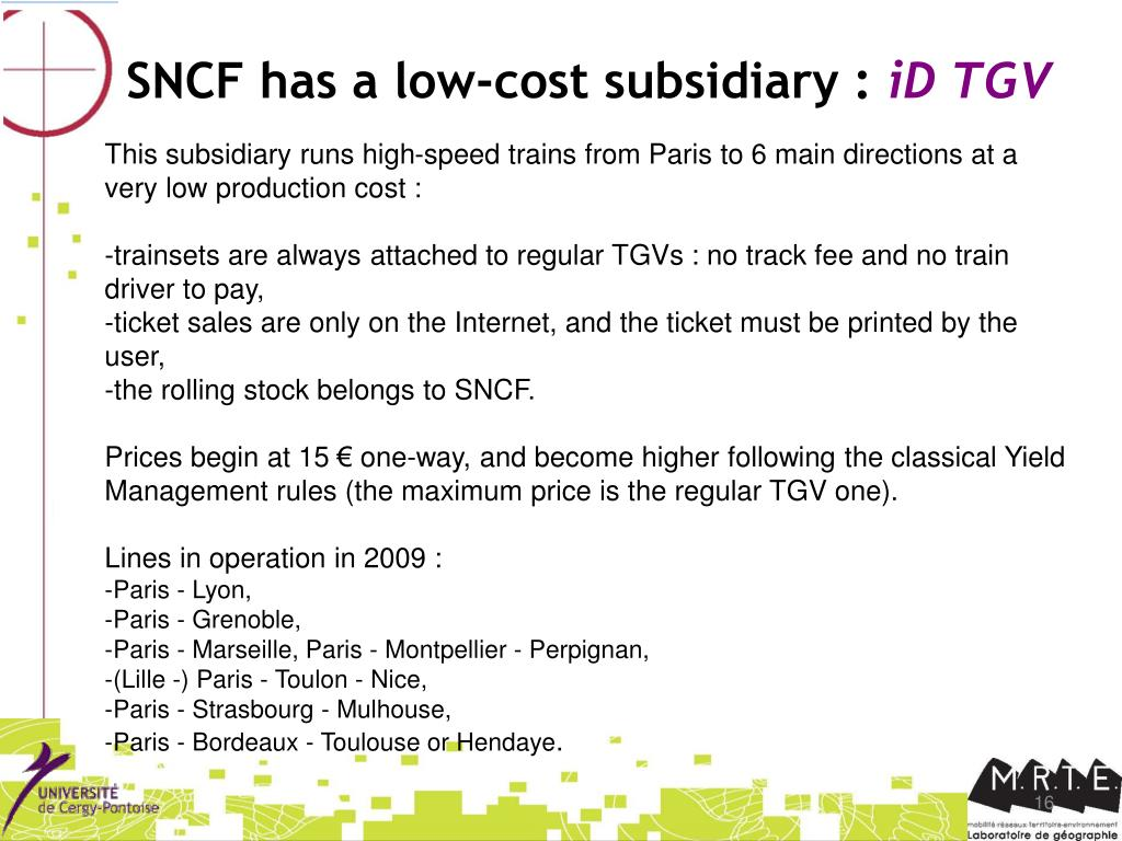 SNCF has a low-cost subsidiary :
