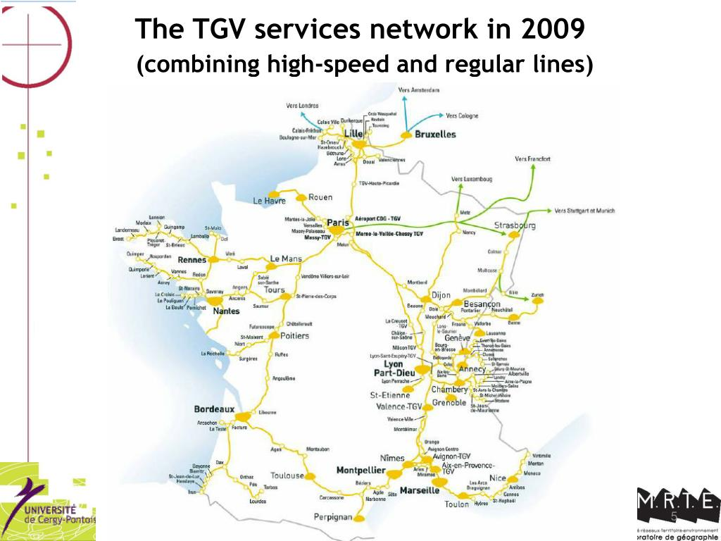 The TGV services network in 2009