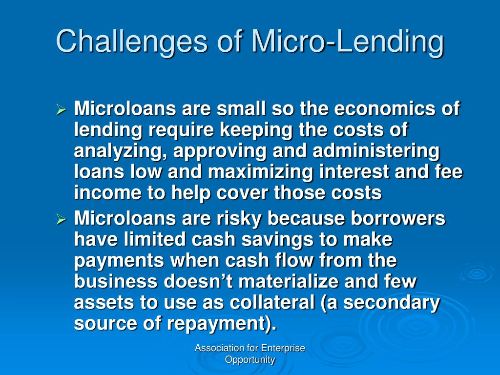 Challenges of Micro-Lending