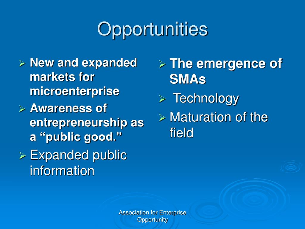 New and expanded markets for microenterprise