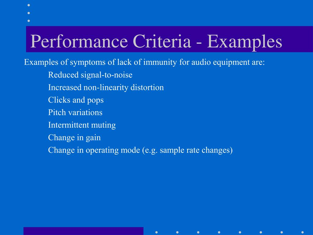 Performance Criteria - Examples