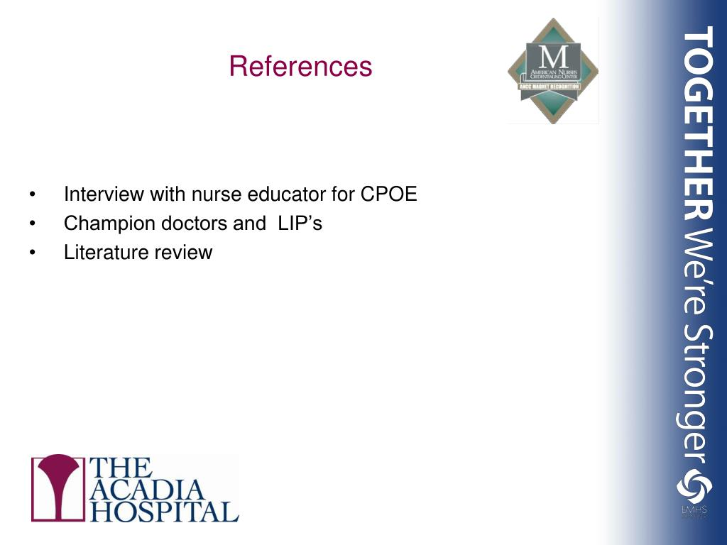 Interview with nurse educator for CPOE