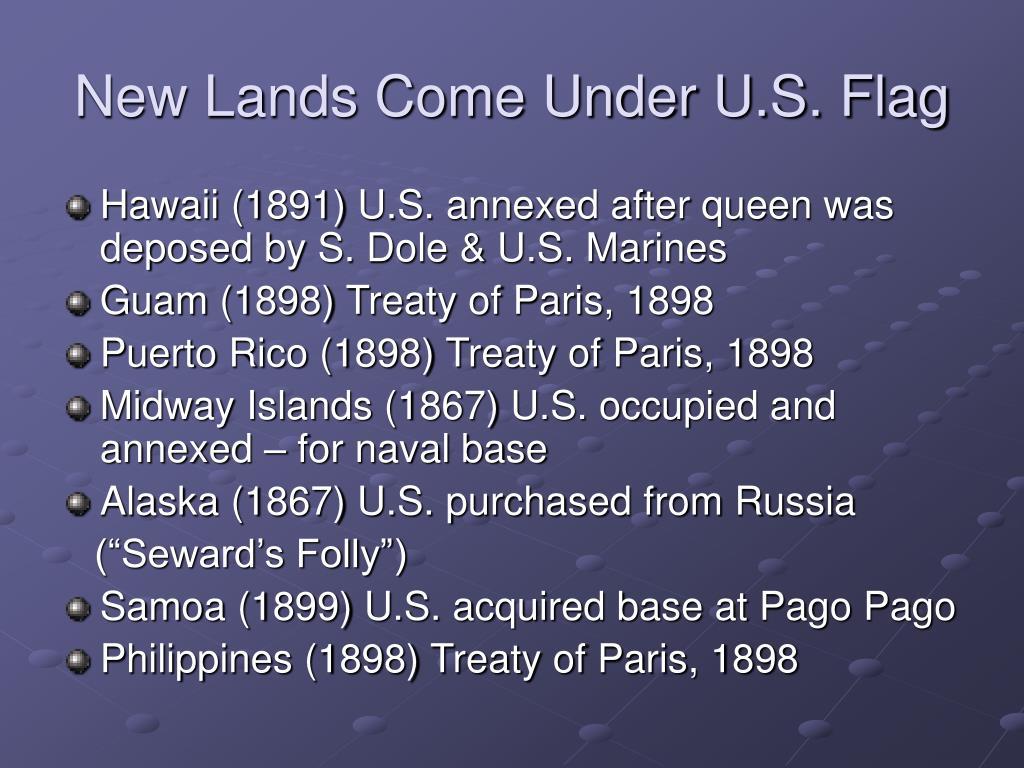 New Lands Come Under U.S. Flag