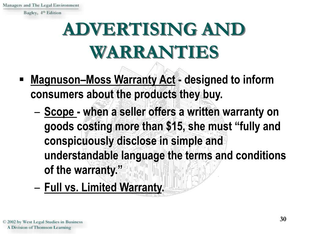 ADVERTISING AND WARRANTIES