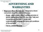 advertising and warranties30