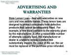 advertising and warranties33
