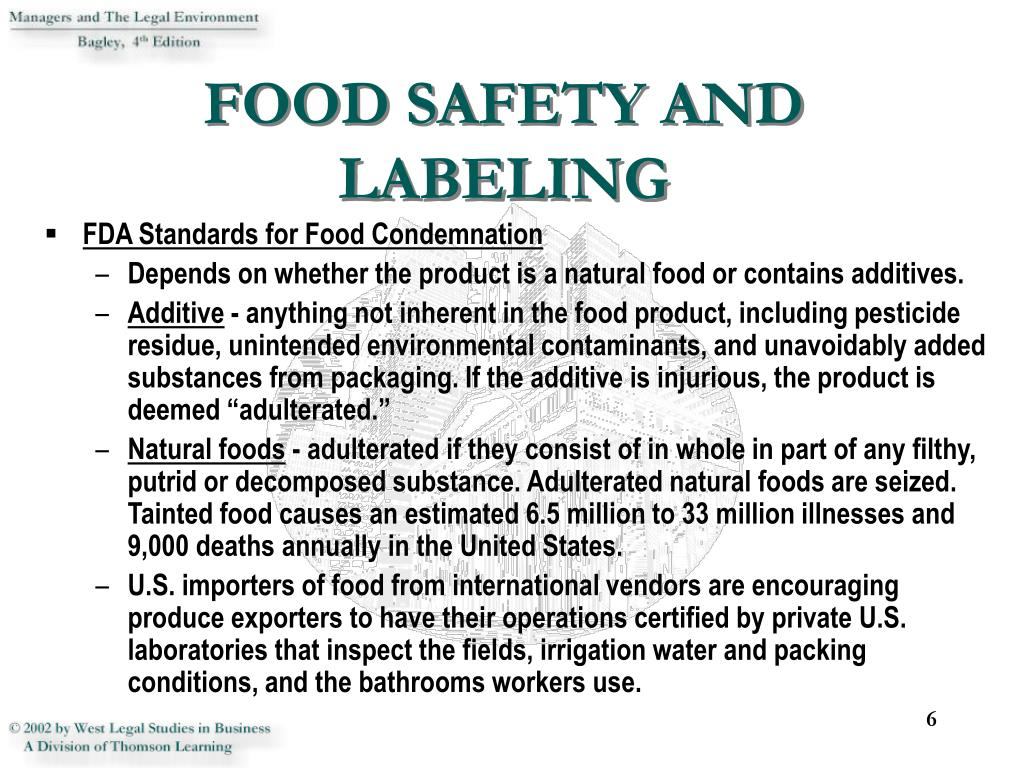 FOOD SAFETY AND LABELING