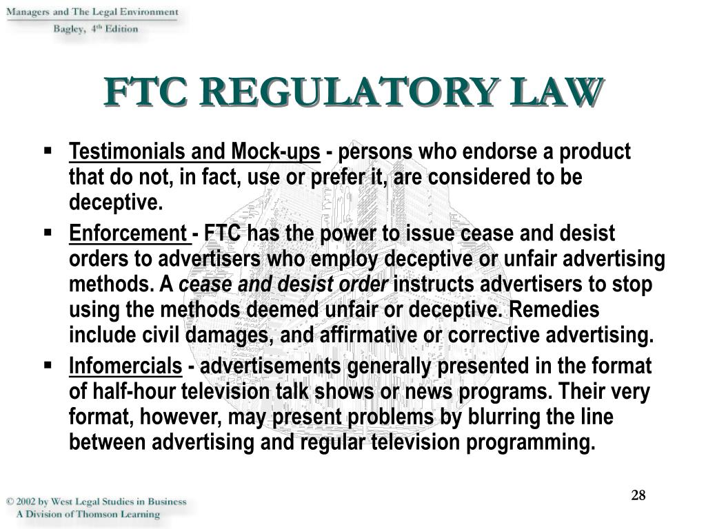 FTC REGULATORY LAW