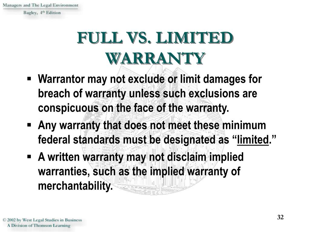 FULL VS. LIMITED WARRANTY