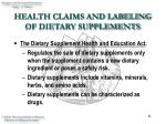 health claims and labeling of dietary supplements