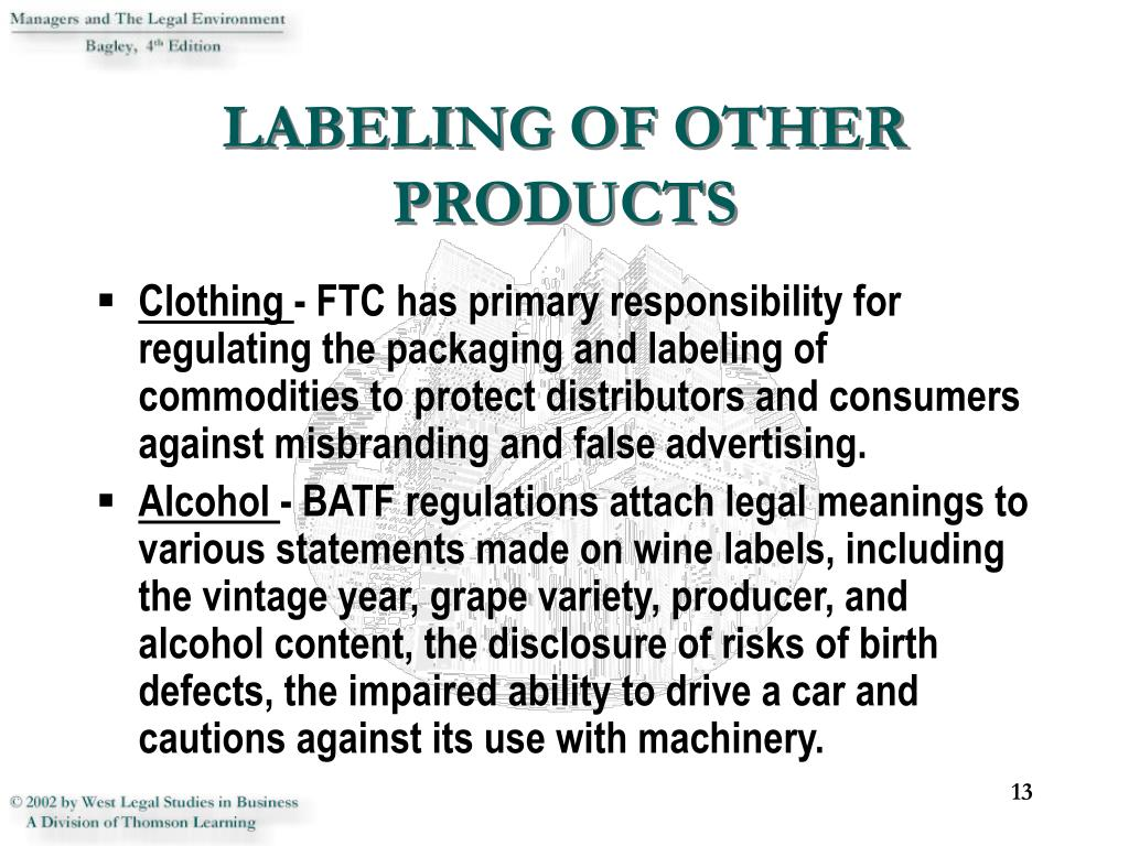 LABELING OF OTHER PRODUCTS