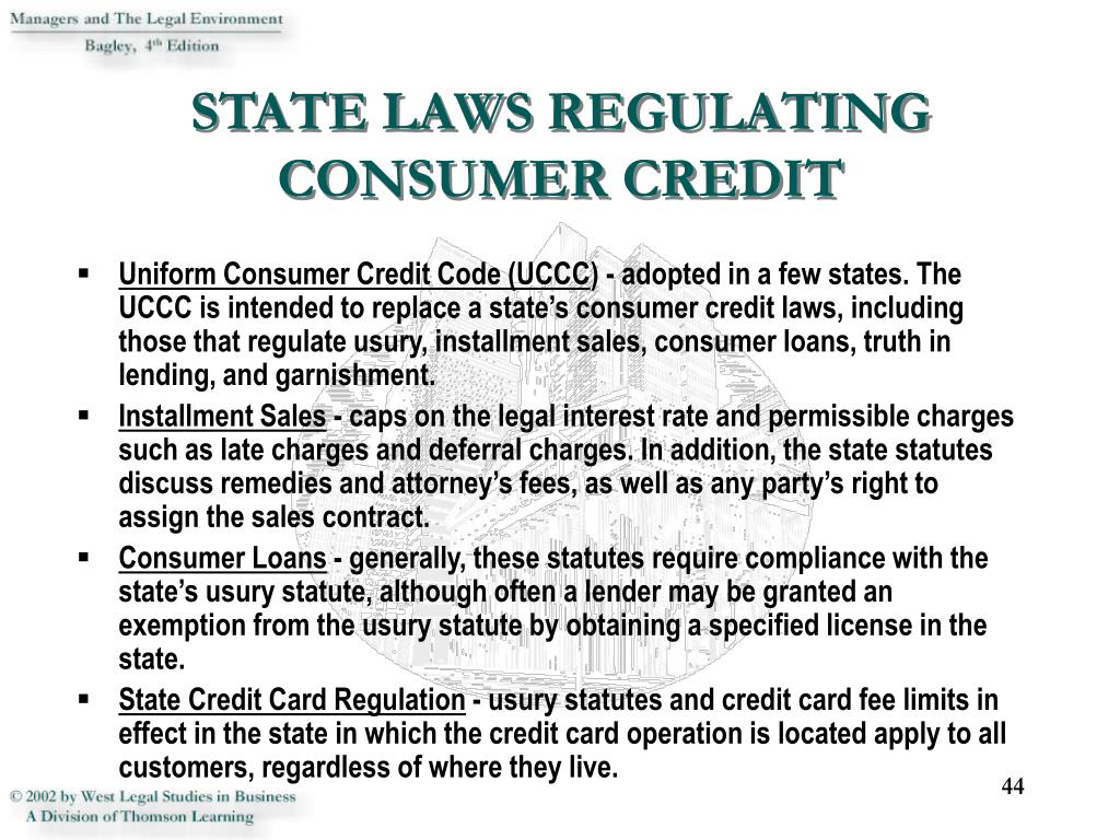 STATE LAWS REGULATING CONSUMER CREDIT