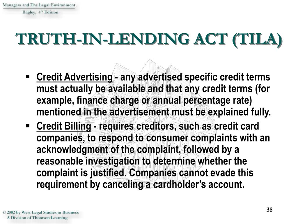 TRUTH-IN-LENDING ACT (TILA)