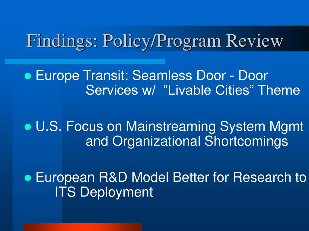 Findings: Policy/Program Review