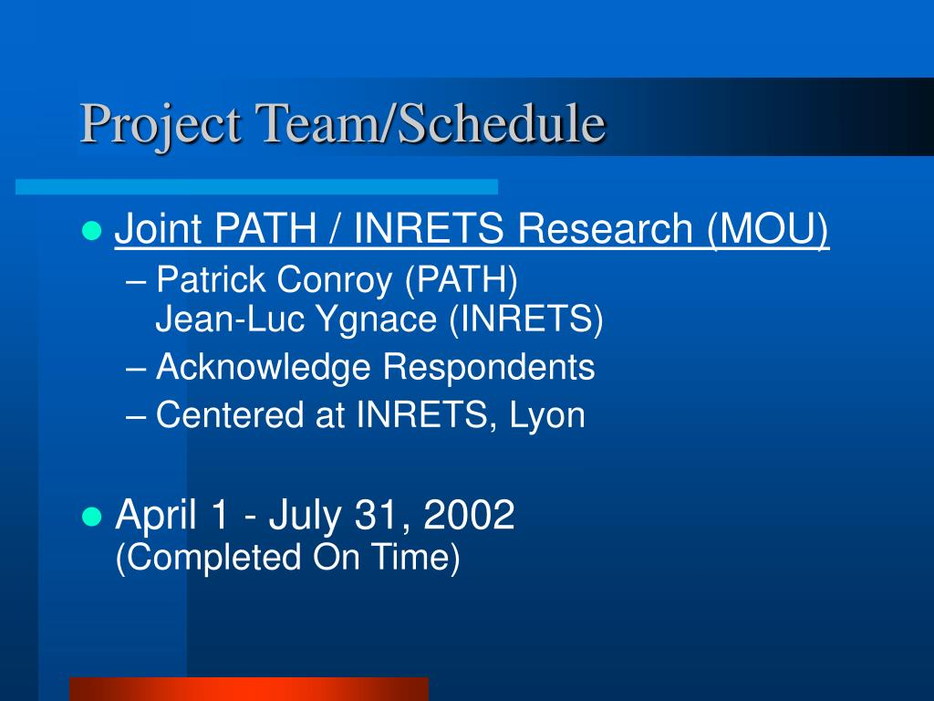 Project Team/Schedule