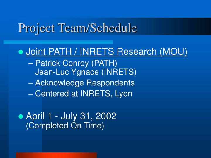 Project team schedule