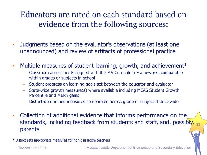 Educators are rated on each standard based on evidence from the following sources: