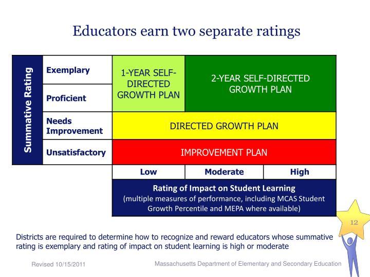 Educators earn two separate ratings