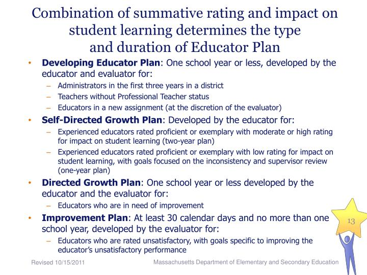 Combination of summative rating and impact on student learning determines the type