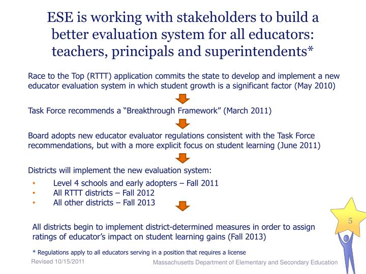 ESE is working with stakeholders to build a better evaluation system for all educators: teachers, principals and superintendents*