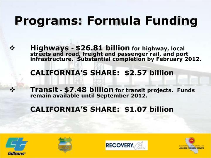 Programs: Formula Funding