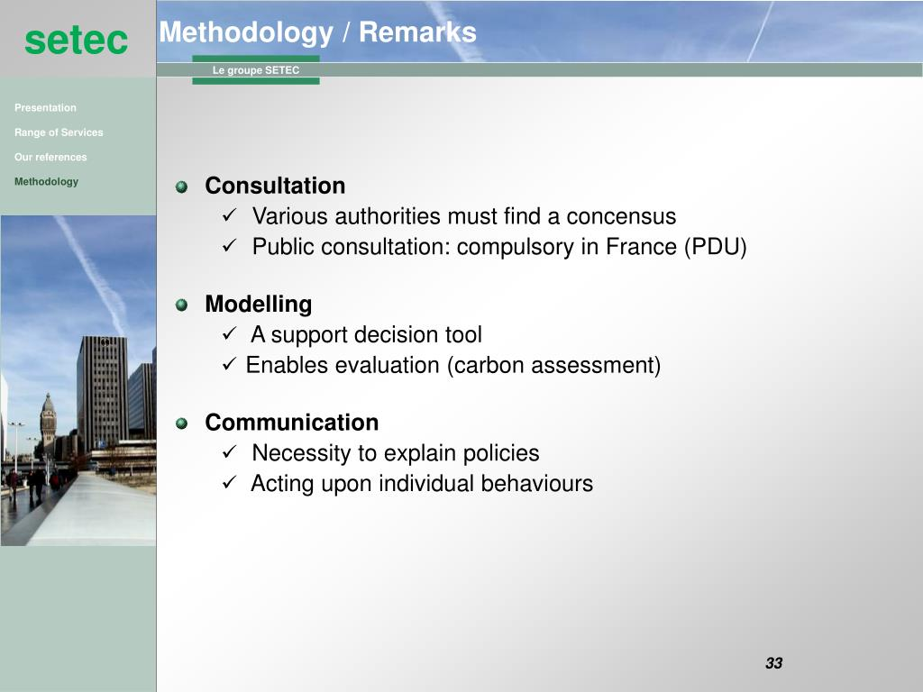 Methodology / Remarks