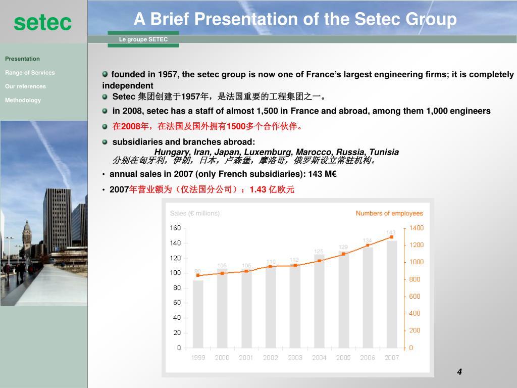 A Brief Presentation of the Setec Group