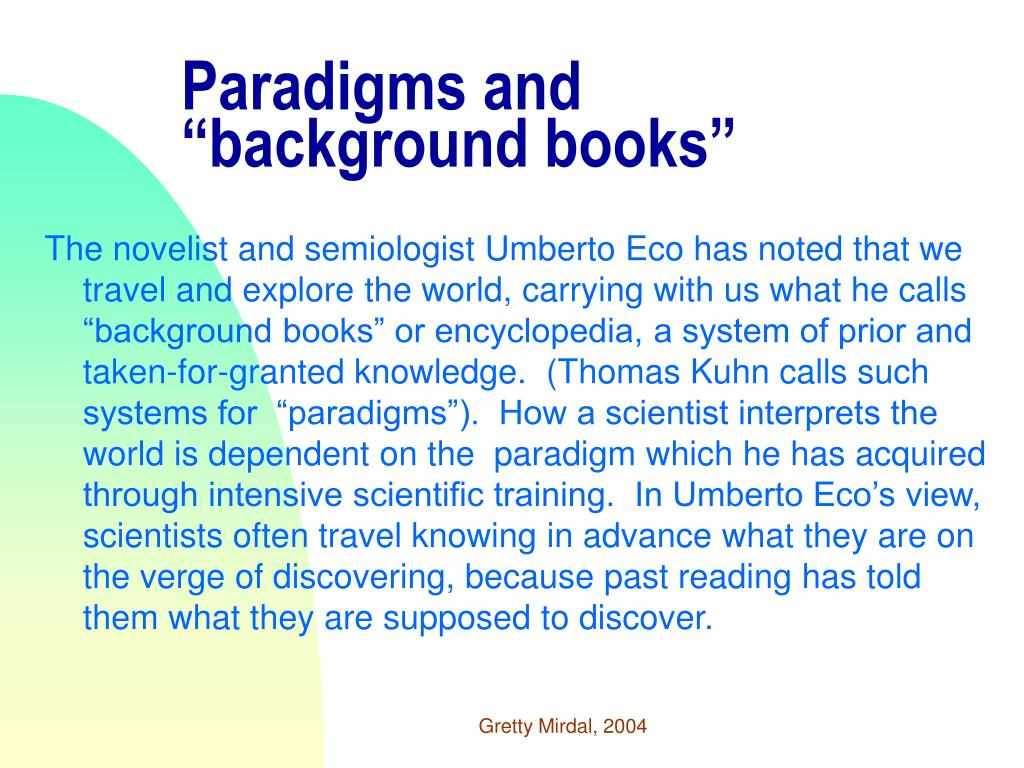 "Paradigms and ""background books"""
