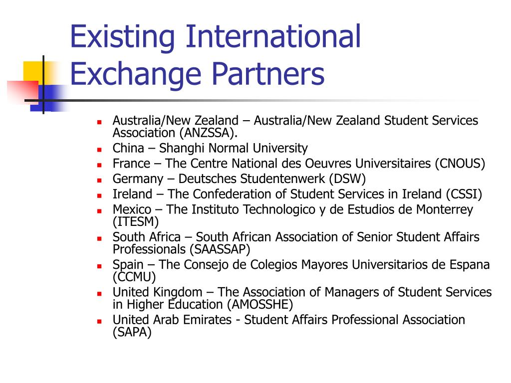 Existing International Exchange Partners