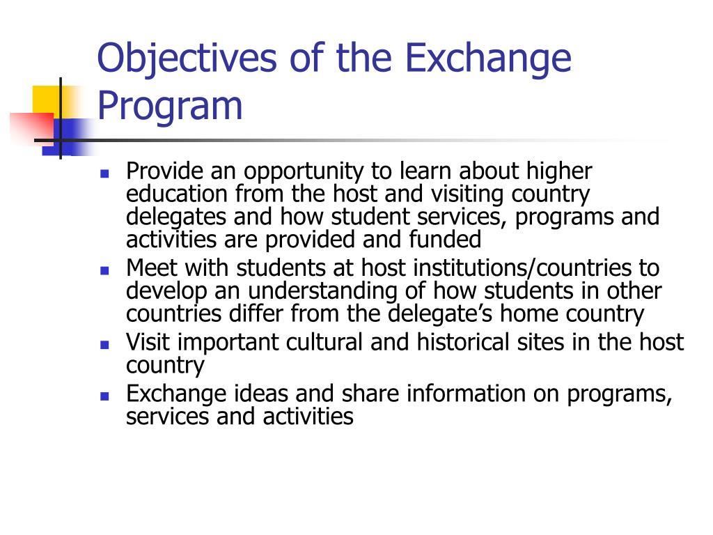 Objectives of the Exchange Program