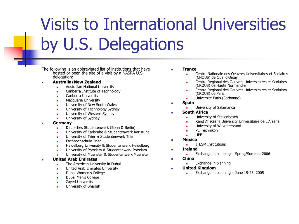 The following is an abbreviated list of institutions that have hosted or been the site of a visit by a NASPA U.S. delegation: