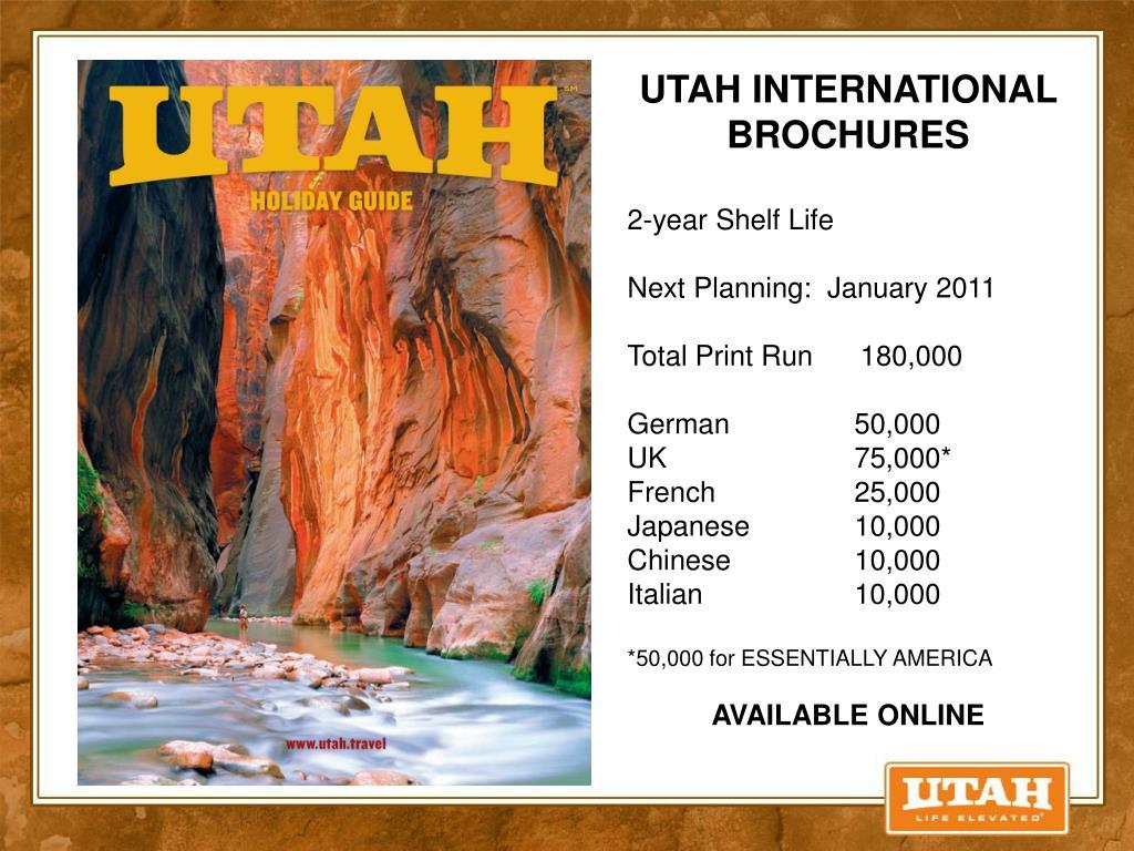 UTAH INTERNATIONAL BROCHURES